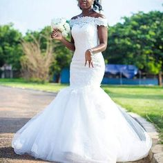 Dreamy Off the Shoulder Lace Wedding Dress Vestido De Festa Mermaid African Bridal Dress