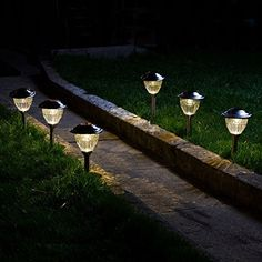 Set of 6 Solar Warm White LED Stainless Steel Path Lights with Garden Stakes