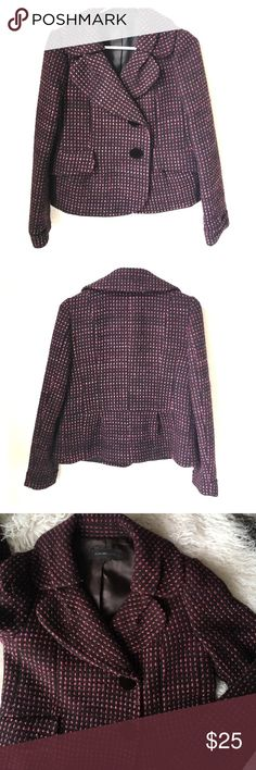 Olive Des Olive Tweed Jacket / Blazer Beautiful plum colored Olive Des Olive jacket/blazer. Main color is a deep plum color, with purple polka dot design with speckles of gold thread. Two velvet covered buttons. Size 1 (Japanese) so like an XS/S.  Fully lined. Olive Des Olive  Jackets & Coats Blazers
