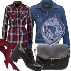 Approfittiamo delle belle giornate per fare una passeggiata indossando questo outfit carino ma allo stesso tempo comodo e pratico. Camicia lunga sopra il ginocchio a quadri con i toni del rosso, blue e bianco stretta da un cinturino in vita. Collant rosso. Scarpa stringata e borsa a tracolla nera. Giacca di jeans e per finire foulard di cotone silver.