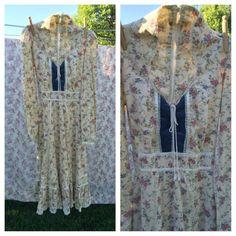 Vintage Gunne Sax Calico jurk maat S door JustClickThreeTimes