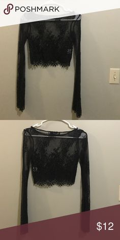 Black cropped lace see through top Rehab black lace see through crop top. Size S Rehab Tops Crop Tops