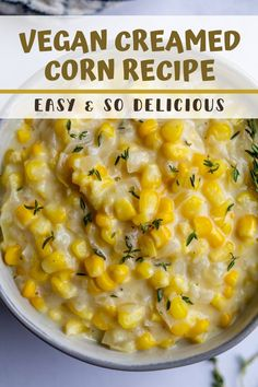 This Vegan Creamed Corn is SO ridiculously simple to make and absolutely delicious. No one will even know that it's dairy free and plant-based! Perfect for holiday dinners or even simple weeknight meals.