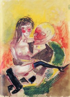 "amare-habeo: "" Otto Dix (German, 1891 – 1969) - Lovers (Liebespaar), 1923 Aquarelle """