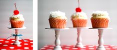 Totes adorbs! Wooden candlesticks from the craft store painted white and displaying simple cupcakes.