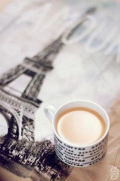 Romantic Paris coffee time tea milk cup mug fun time Have a cup of milk by BAYAN MOHD I Love Coffee, Coffee Art, Coffee Break, Morning Coffee, Coffee Shop, Coffee Cups, Coffee Lovers, French Coffee, Sweet Coffee