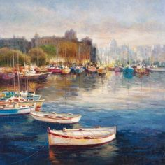 Portfolio Canvas Decor Boats at Rest by Y. Borsuk Wrapped and Stretched Canvas Wall Art, Size: Small 18 inch-24 inch, Multicolor