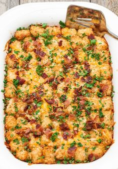 Tater Tot, Bacon, Sausage, Cheese and Egg Breakfast Casserole Recipe on Yummly