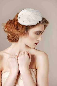Jane Taylor Millinery Bridal Collection Pearl Feather Tear.