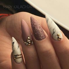 Cute Stiletto Nails With Matte Accents. If you are a passionate lover of a matte finish, have a look at these matte and cute stiletto nails. Beautiful Nail Designs, Beautiful Nail Art, Gorgeous Nails, Pretty Nails, Fancy Nails, Love Nails, My Nails, Nails 2018, Prom Nails