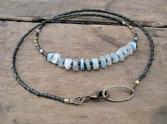 Rustic Blue Aquamarine Necklace beaded by ArtifactsEtCetera, $35.00