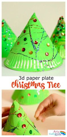 Cute, simple and perfect for toddlers and preschoolers! this simple Paper Plate Christmas Tree craft is perfect for developing fine motor skills while getting into the festive spirit! An easy Chris (Christmas Activities For Toddlers) Preschool Christmas Crafts, Christmas Arts And Crafts, Christmas Activities For Kids, Toddler Christmas, Holiday Crafts, Diy 3d Christmas Tree, Childrens Christmas Crafts, Craft Activities, Toddler Crafts