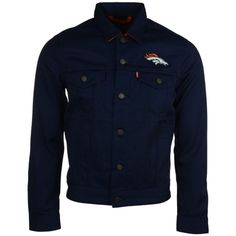 Levi's Men's Denver Broncos Trucker Jacket ($98) ❤ liked on Polyvore featuring men's fashion, men's clothing, men's outerwear, men's jackets and navy