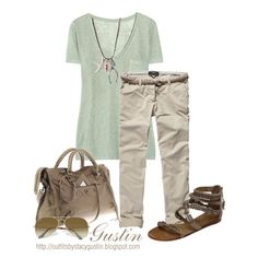 Mint green and tan. From polyvore. Created by Stacy Gustin