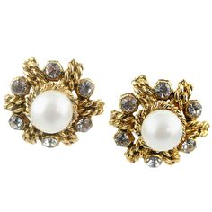 Pair of Glass Pearl & Rhinestone Ear Clips by Chanel. Circa 1970s
