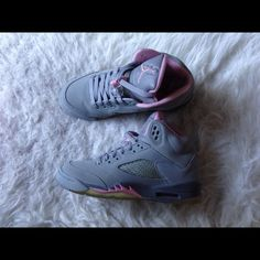 Jordan 5 //Jordan 5   • Grey and shy pink • Kids size (GS): 5 • Worn many times  • in great condition • Slight creases in toe box • Sole is yellow • Comes with original box  • Retro card included   >>Ask and save more money on mercari! Jordan Shoes Sneakers
