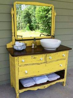 Old Dresser Turned Bathroom Vanity