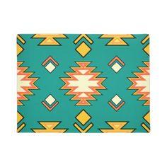 Golden Green Traditional Aztec Pattern Door Mat - patterns pattern special unique design gift idea diy