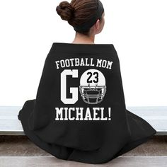 Are you a football mom and you don't have one but two kids who play school football. You can still customize a funny football mom shirt and blankets to show your support! Football Spirit, Football Cheer, High School Football, Football Season, Football Moms, Football Crafts, Fall Football, Osu Baseball, Youth Football Gear