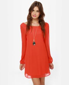 Dinner for Two Coral Red Shift Dress