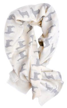 Llama Print Wool Scarf