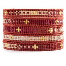 Red Mix Beaded Wrap Bracelet on Natural Dark Red Leather