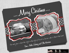 2 Photo/Picture Christian Christmas Card Gray by BabyBunsDesigns, $10.50