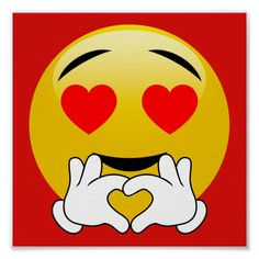 Heart Emoji With Love Hands Red Poster - Funny faces always make me laugh. Emoji Images, Emoji Pictures, Love Pictures, Animated Emoticons, Funny Emoticons, Lach Smiley, Message Mignon, Funny Emoji Faces, Love Heart Images