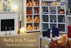 With a range of handmade candles, Moth to a Flame, Bennettsbridge, Kilkenny, Ireland make high quality and unique candles. We are part of the Made in Kilkenny craftspeople group. Unique Candles, Handmade Candles, Craft Shop, Moth, Ireland, Shelves, Gallery, Home Decor, Products