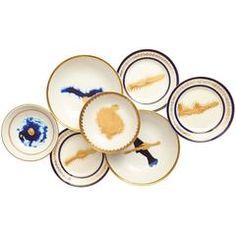 Contemporary Hand-Painted Ocean Porcelain Plate Seven-Piece Collection