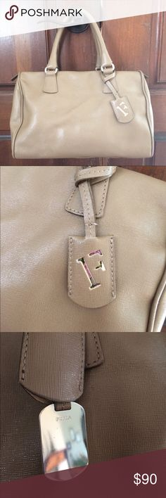 ✨SALE✨ Furla Leather Satchel Handbag This is a gorgeous bag!! Barely used. No tears, stains or rips. No obvious signs of wear. Two small imperfections on the front of bag; photo provided. Navy blue interior. Furla Bags Satchels