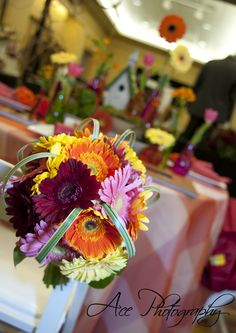 Colorful gerber daisy wedding bouquet.