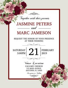 Copy of Wedding Event Flyer Templates, Wedding Templates, Wedding Invitation Templates, Wedding Invitations, Poster Templates, Create Invitations, Elegant Invitations, Invert Colors, Solid Color Backgrounds