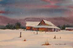 "Rural Snowfall - 7.5x11"" original watercolor painting by Jim Oberst - $100 incl. U.S. shipping. Watercolor Barns, Watercolor Landscape, Watercolor Paintings, Barn Paintings, Art Aquarelle, Watercolors, Landscapes, The Originals, Country"