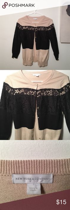 New York and Company button down sweater! So cute. Three quarter length Black and Tan with lace details. Cute for day time or dinner! New York & Company Sweaters Cardigans