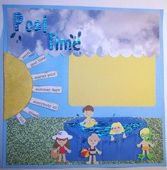 12x12 Premade Scrapbook 2 Page Layout--Pool Time Summer Splashing in the Pool