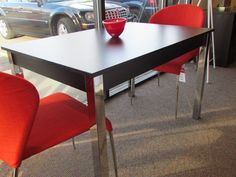 Zoom  dining table in black and chrome.  Was $499   Now $299