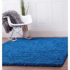 Super Area Rugs, Cozy Plush Solid Blue Shag Rug , 3' 3 inch x 5' 3 inch