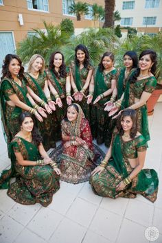 Indian bridesmaids in green lehengas. Indian Wedding Bridesmaids, Indian Bridesmaid Dresses, Bridesmaid Ideas, Indian Weddings, Pre Wedding Photoshoot, Wedding Poses, Wedding Hair, Wedding Stuff, Wedding Ideas