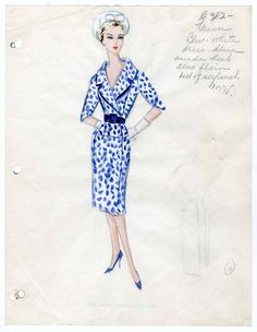 Bergdorf Goodman sketches : Heim 1933-1939. 1933-1939. Metropolitan Museum of Art (New York, N.Y.). Costume Institute. Bergdorf Goodman sketches, 1929-1952 Costume Institute. #bluedress #beauty | You don't have to be a model to know fashion.