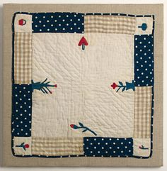 Doll Quilt with Heart, Basket & Flowers:Ca. 1870; Pa.