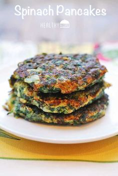 These Spinach Pancakes look so good! Make them vegan with chia eggs and walnut rawmesan.