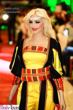 Algerian fashion: yellow and black Berber dress