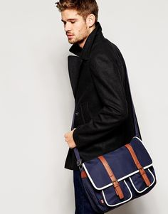 99e428c9c780 Image 3 of ASOS Satchel In Navy With Faux Leather Straps Presents For Him