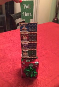 How to Make a DIY Lottery Ticket Gift Basket & Mystery Gift .- How to Make a DIY Lottery Ticket Gift Basket & Mystery Gift Box DIY Scratch Off Ticket Gift Basket & Mystery Gift Box with New Jersey Lottery Holiday Games - Holiday Games, Diy Holiday Gifts, Homemade Christmas Gifts, Christmas Fun, Holiday Gift Baskets, Christmas Ornaments, Gifts For Grandpa Christmas, Christmas Ideas For Him, Homemade Gifts For Men