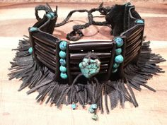 Native American black leather fringed choker by CreativeNative54, $65.00