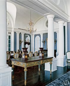 Churchill Downs--table for formal living-Neoclassical taste in revived Old Beirut penthouse--design: Frederic MeshishPhoto (AD/RU) Neoclassical Interior, Neoclassical Architecture, Interior Architecture, Interior And Exterior, French Interior, Classic Interior, Ad Architectural Digest, Brick Texture, Empire Style