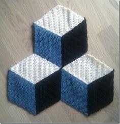 Tapete 3 D em Crochê com Gráfico