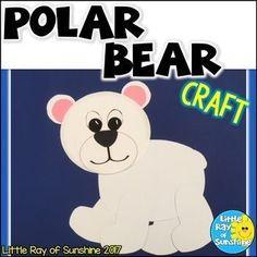 Polar Bear Craft for Winter & January - Little Ray of Sunshine Teaching Resources Arts And Crafts For Adults, Winter Crafts For Kids, Winter Kids, Diy Arts And Crafts, Fun Crafts, Preschool Winter, Party Crafts, Carpe Diem, Polar Animals