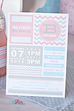 """Have you noticed the """"Baby Revealing"""" party trend is hot right now? I came up with some simple and affordable gender reveal baby shower ideas! Gender Party, Baby Gender Reveal Party, Gender Reveal Party Invitations, Wedding Invitations, Shower Party, Baby Shower Parties, Printable Invitation Templates, Invitation Ideas, Invitation Layout"""